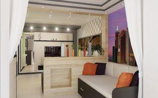 Гостиная с рабочим местом: зона и дизайн кабинета, в одной комнате интерьер спальни, фото зонирования зала в доме