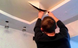 Ремонт натяжных потолков: до и после, видео и фото ремонтника, как отремонтировать своими руками срочно