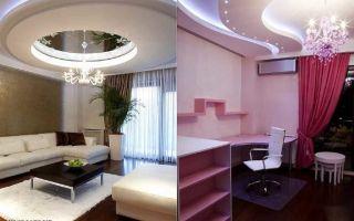 Натяжной потолок из гипсокартона фото: с подсветкой, какой лучше, комбинированные и сочетания