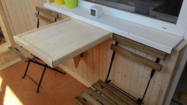Столик на балкон: откидной и складной стол, столешница своими руками, фото и чертежи, как сделать на лоджии навесной