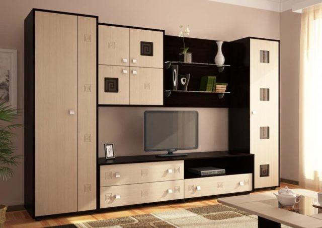 Стенка для гостиной со шкафом для одежды: фото платяного в зале, с двумя и без, с большим и узким, недорогие