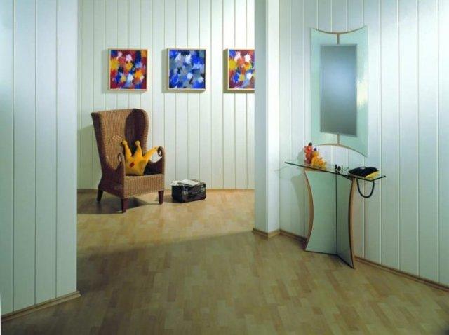 Фото отделка прихожей панелями МДФ: стены в коридоре, дизайн с пластиком, отделка стеновыми обоями и обшивка