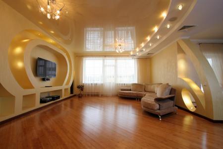 Дизайн потолков из гипсокартона для зала фото: своими руками, фотогалерея, двухуровневые и натяжные, подвесные
