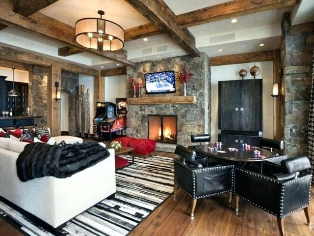 Гостиная в стиле шале: фото интерьера с камином, дизайн кухни в квартире и на даче