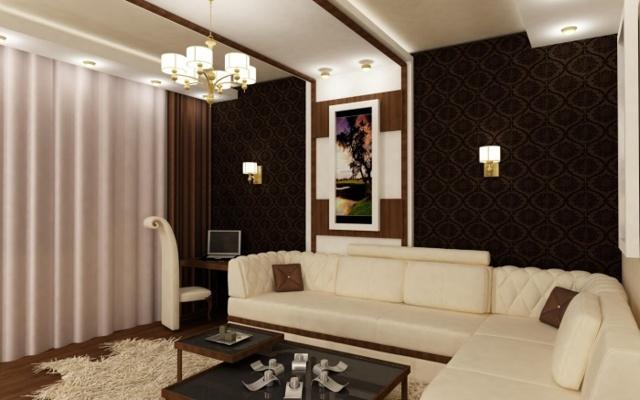 Темные обои: пол в интерьере комнаты, фото коричневых, фон светлый, подобрать для маленькой, лес как осветлить