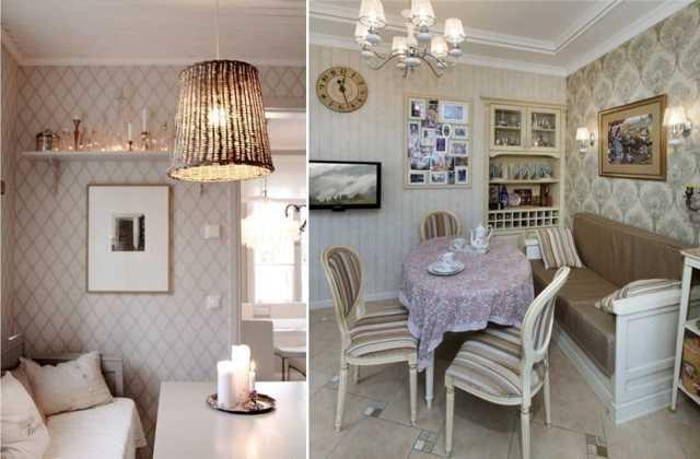 Обои в кухню фото в интерьере: бежевый и белый, фотообои в гостиной, классические под покраску, в клетку