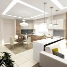 Планировка кухни-столовой-гостиной фото: совмещенин, п-образная перепланировка зала, дизайн комнаты большой
