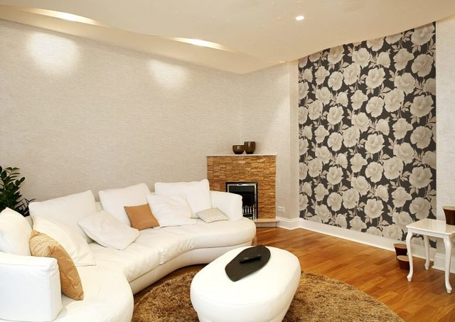 Комбинирование обоев в гостиной фото идеи: сочетание двух цветов, дизайн, как поклеить реальные, как правильно