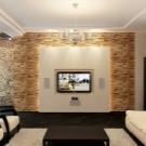 Декоративный камень в интерьере гостиной фото: искусственная отделка зала, дизайн с деревом, комбинация в оформлении