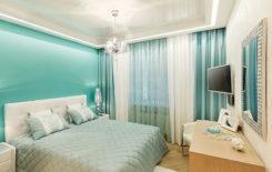 Потолки одноуровневые натяжные: с точечными светильниками, фото двухцветных, виды матовых в спальне, с подсветкой дизайн