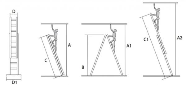 Лестницы 2 секции: двухсекционная и 4-х, алюминиевая односекционная раздвижная, приставная стремянка и выдвижная