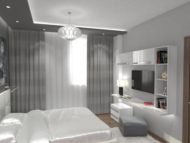 Фиолетовые спальни: тона и фото дизайна, цвета в интерьере, с белой мебелью и серой стеной, бежево-черная