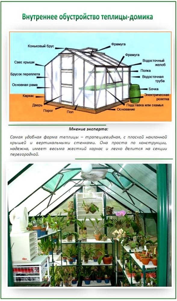 Как обустроить теплицу из поликарбоната внутри: фото оформления и стеллажей, устройство грядки и планировка