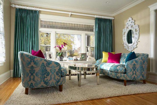 Шторы в интерьере: фото, дизайн занавесок для окон, цветная рогожка в квартире, красивые и интересные примеры