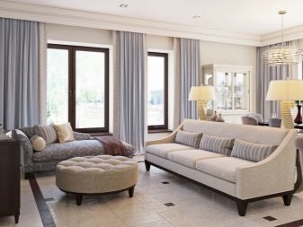 Дизайн гостиной с двумя окнами: без оформления зал, 2 фото и три, панорама в частном доме, угловой интерьер