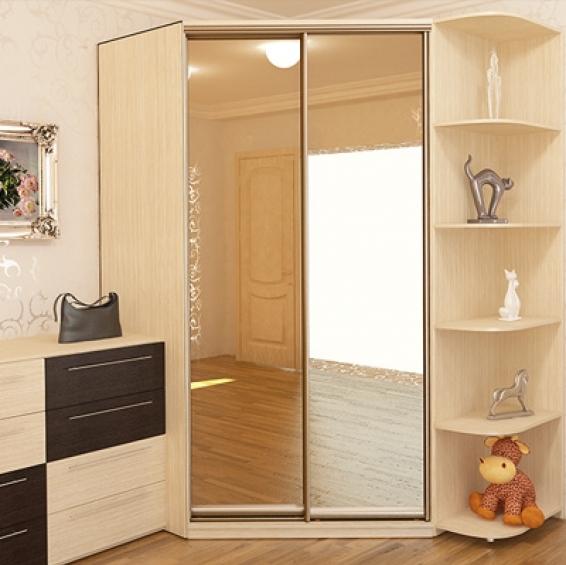 Встроенный угловой шкаф-купе в гостиную фото: дизайн в зале на всю стену, мебель распашная, интерьер комнаты