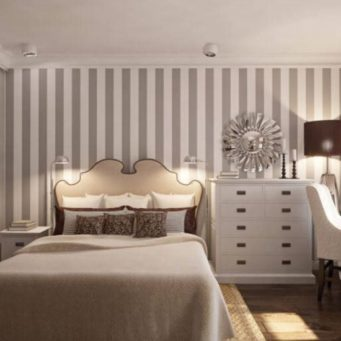 Дизайн стен обоями двух цветов: виды в одной комнате, фото отделки, как сочетать дизайн, двойные в интерьере