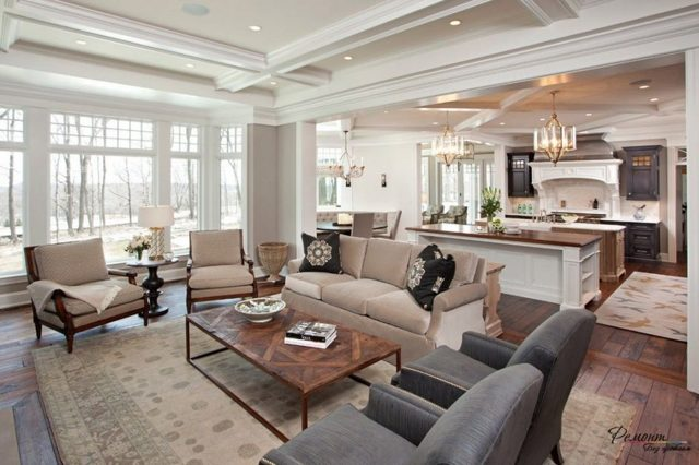 Идея для кухни с гостиной фото: интерьера дизайн, красивое совмещение, идеальная элитная и стильная, шикарная
