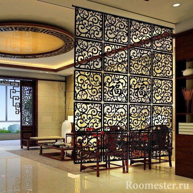 Интерьер гостиной с перегородкой: для зонирования, фото и дизайн залов, стеклянная декоративная, как сделать