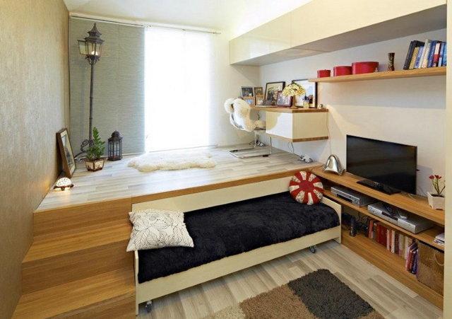 Кровать-подиум фото для маленькой спальни: для небольшой, большая круглая