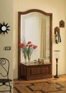 Зеркало с полкой в прихожую: фото за полочкой, своими руками настенный комод, стеллажи узкие
