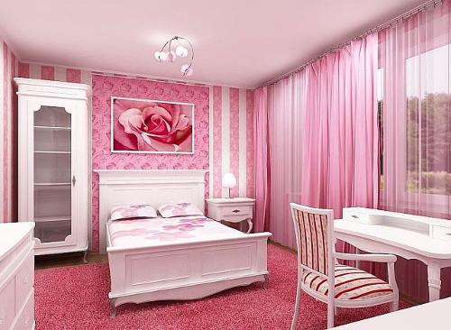 Розовые обои: в интерьере фото, какие подойдут, фон и сочетания цветов, бело-розовые в комнату