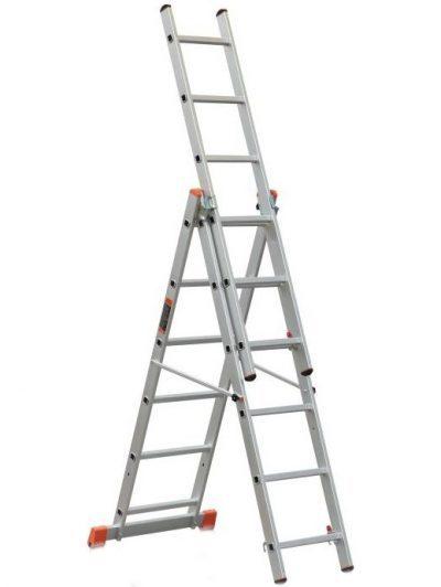 Лестница трехсекционная: стремянка 3-х секционная, раскладная и выдвижная трехколенная, Эйфель 312 универсальная