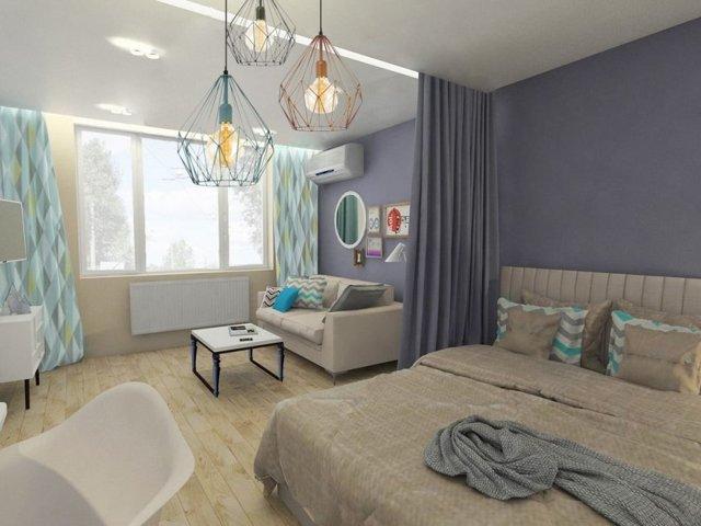 Спальная-кабинет: комната рабочая, интерьер и дизайн, зонирование одной, маленькое место, идеи в розовом цвете