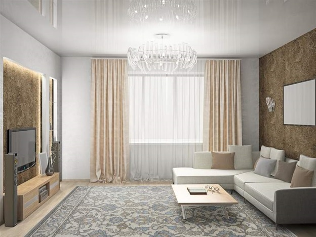 Белый натяжной потолок: фото, бело-красный в интерьере, цвета, квадрат бело-серый