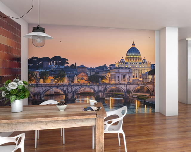 Обои города на стену: в интерьере фото, Лондон с рисунком, Париж ночной, изображение зимнее, черно-белый стиль