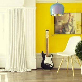 Желтые обои: для стен в интерьере, фото, золотая книга, светлого цвета, какая мебель подойдет
