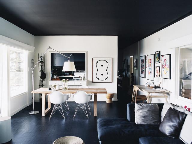 Черный потолок: в интерьере, фото дизайна, черно-белая комната и серые стены своими руками