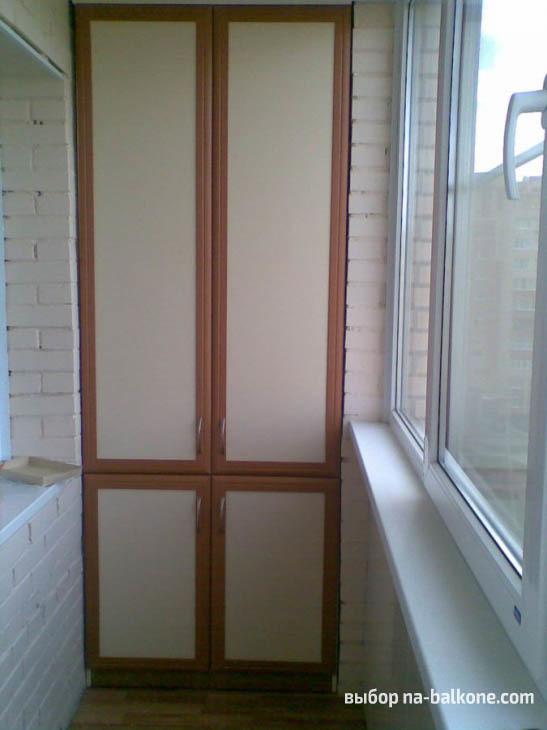 Шкафы на балкон: шкафчик сделать угловой, фото встроенное, лоджия из пластика и ПВХ, хранение маленькое