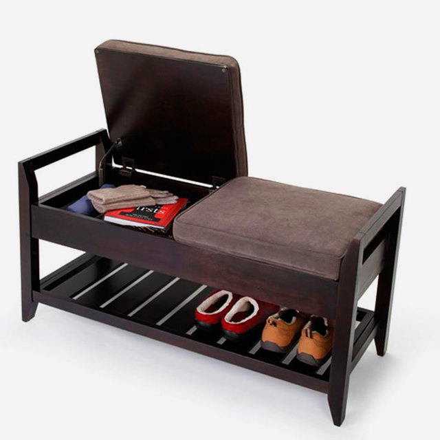 Банкетка в прихожую с ящиком для обуви: полка и обувница