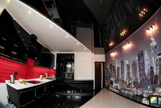 Черный натяжной потолок: фото черно-белых в интерьере, глянцевый, отзывы о цвете, с рисунком и матовый
