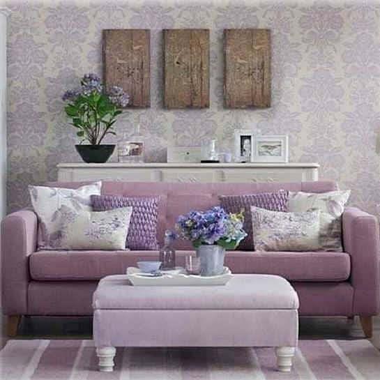 Сиреневый интерьер гостиной фото: в тонах дизайн, цвет в зале, оформление и сочетания с серым, стены