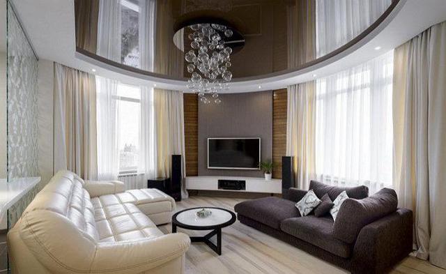 Глянцевый потолок: минусы и плюсы материалов, фото покрытия, как установить белый и розовый, отзывы о фиолетовом, описание интерьера квартиры
