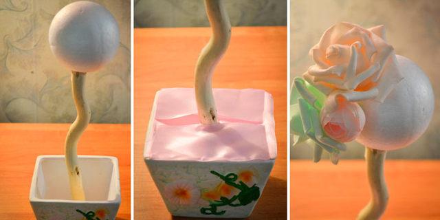 Топиарий из фоамирана: мастер-класс, из цветов роз своими руками, фото и видео, сделать кофейный, МК