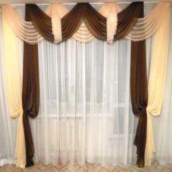 Дизайнерские решения для штор фото: классический стиль, комбинированные для спальни, шифон горчичного цвета