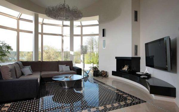 Дизайн гостиной с камином: идеи для зала, фото квартиры, в доме интерьер, проект углового эркера 16 кв. м, чугун