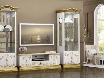 Белая стенка в гостиную: черная, фото и цвета для зала, беленый дуб и глянец, модульные, современная классика