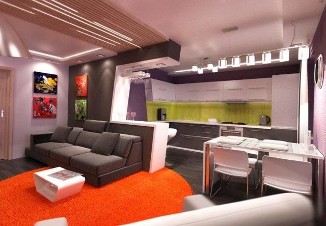 Дизайн кухни совмещенной с гостиной фото с барной стойкой: между разделением и совмещением, отделенный интерьер