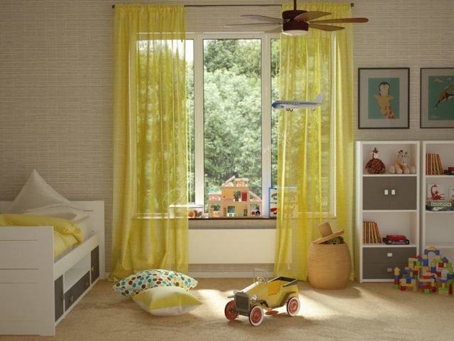 Тюль в детскую: комната для мальчика, фото, занавески для девочки, карниз и шторы, радуга и с бабочками