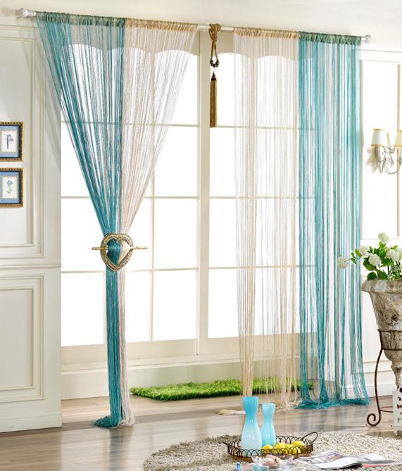 Нитяные шторы: нити в интерьере, фото кисея и веревочные висюльки, РФ и ниточные занавески на кухню, красивая сборка