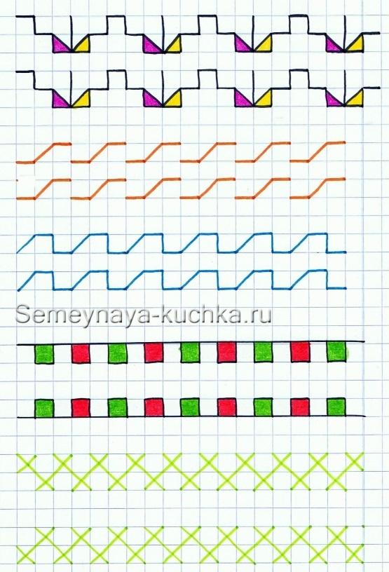 Схема рисунков для вышивки крестом: для начинающих по готовому, для детей на тетрадном листе в клетку, маленькие