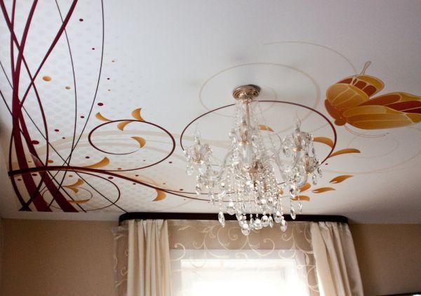 Натяжные потолки фото в спальне: картинки, потолки двухуровневые, дизайн потолка спальни с рисунком и фотопечатью