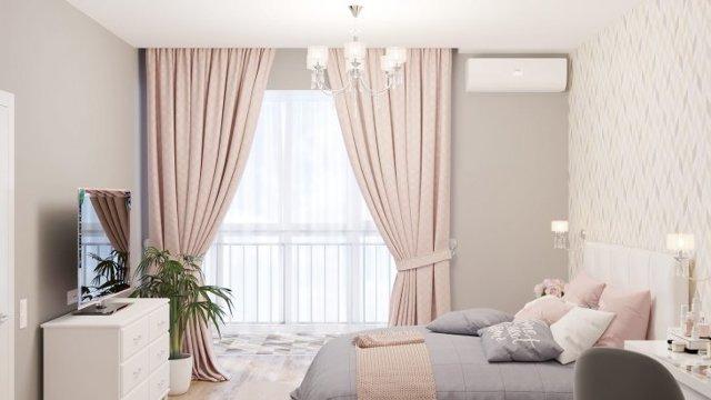 Синяя спальня: тона и цвета, белая мебель, интерьера фото, дизайн серой, темный стиль обоев, шторы зеленые