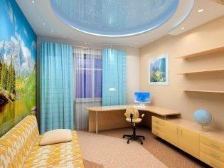 Потолок в детской: фото в комнате, какой лучше сделать рисунок, дизайн со скошенным и с фотопечатью, проектор для комбинированного, ремонт