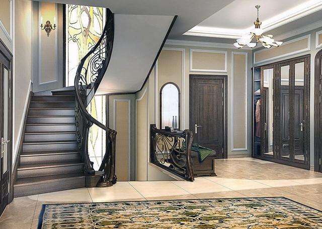 Прихожая с лестницей фото на второй этаж: коридор в клетку и шкафы, дизайн интерьера в частном доме, обои