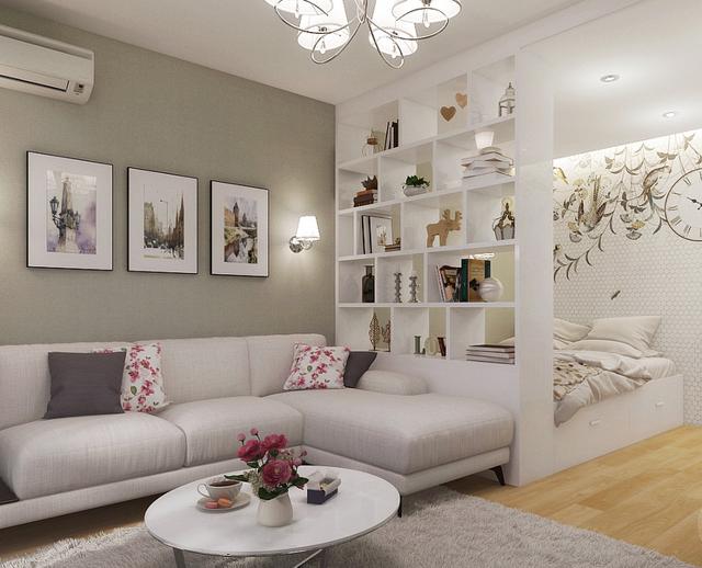 Уголок со спальным местом: кожаный дельфин для комнаты, мягкий руками в однокомнатной квартире